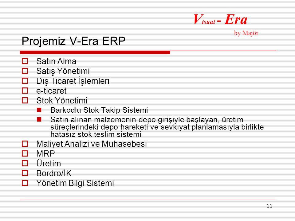 11 Projemiz V-Era ERP  Satın Alma  Satış Yönetimi  Dış Ticaret İşlemleri  e-ticaret  Stok Yönetimi Barkodlu Stok Takip Sistemi Satın alınan malze