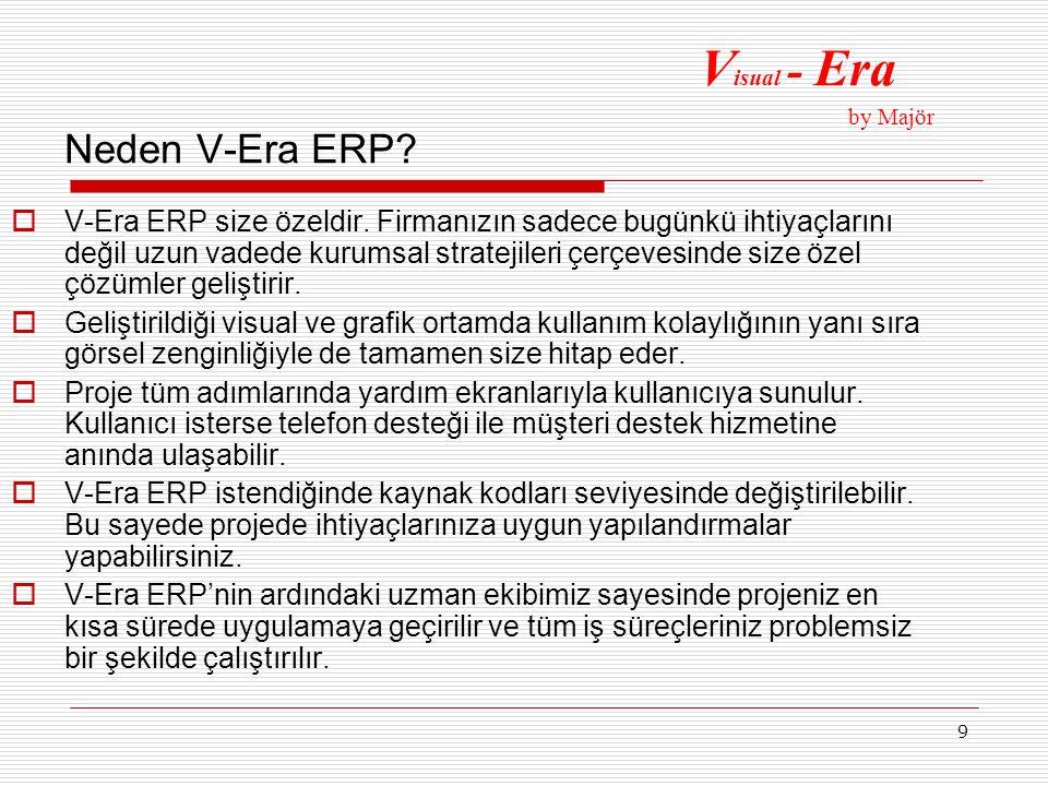 9 Neden V-Era ERP?  V-Era ERP size özeldir. Firmanızın sadece bugünkü ihtiyaçlarını değil uzun vadede kurumsal stratejileri çerçevesinde size özel çö