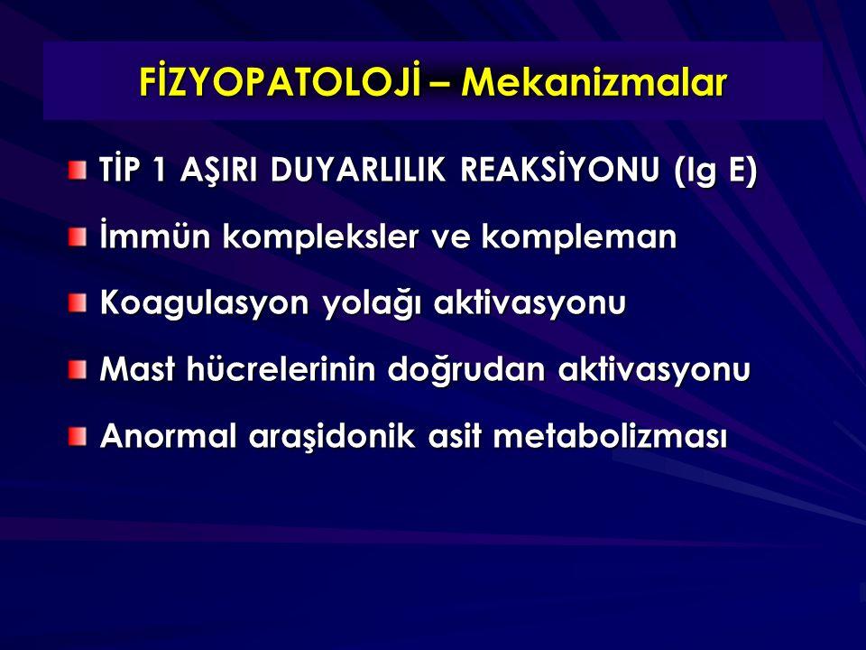 TİP 1 AŞIRI DUYARLILIK REAKSİYONU (Ig E) İmmün kompleksler ve kompleman Koagulasyon yolağı aktivasyonu Mast hücrelerinin doğrudan aktivasyonu Anormal