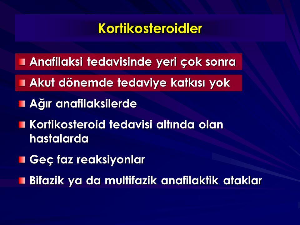 Kortikosteroidler Anafilaksi tedavisinde yeri çok sonra Akut dönemde tedaviye katkısı yok Ağır anafilaksilerde Kortikosteroid tedavisi altında olan ha