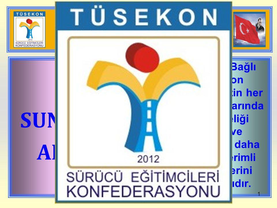 BU SUNUNUN AMACI TÜSEKON' A Bağlı Federasyon derneklerimizin her türlü toplantılarında rehber niteliği taşıması ve toplantılarını daha yararlı ve verimli yapabilmelerini sağlamalarıdır.