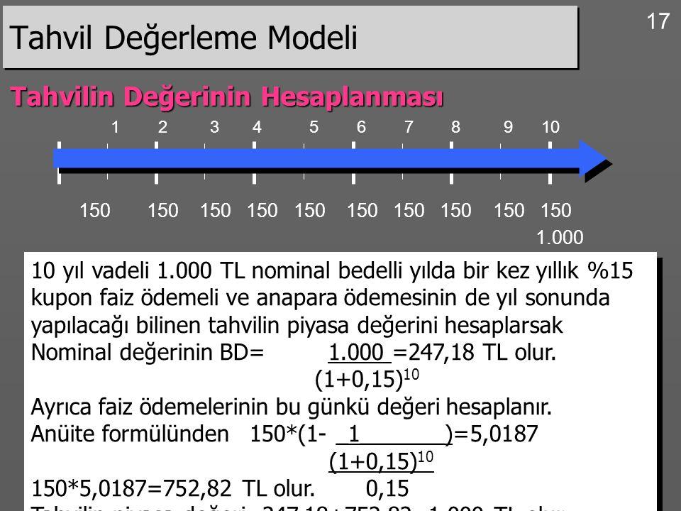 17 Tahvil Değerleme Modeli Tahvilin Değerinin Hesaplanması 1 2 3 4 5 6 7 8 9 10 150 150 150 150 150 150 150 150 150 150 10 yıl vadeli 1.000 TL nominal