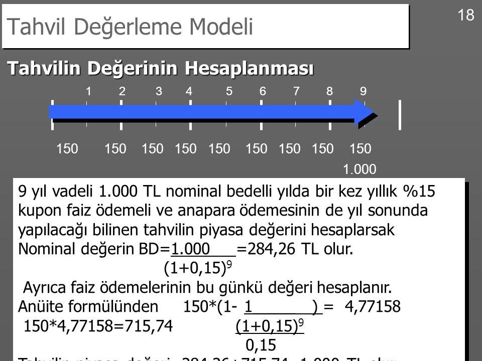 18 Tahvil Değerleme Modeli Tahvilin Değerinin Hesaplanması 1 2 3 4 5 6 7 8 9 150 150 150 150 150 150 150 150 150 9 yıl vadeli 1.000 TL nominal bedelli