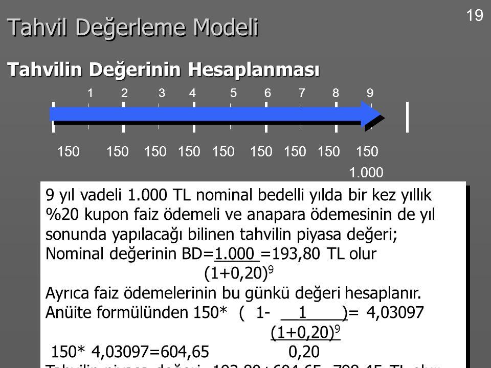 19 Tahvil Değerleme Modeli Tahvilin Değerinin Hesaplanması 1 2 3 4 5 6 7 8 9 150 150 150 150 150 150 150 150 150 9 yıl vadeli 1.000 TL nominal bedelli