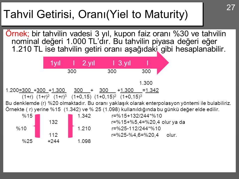 27 Tahvil Getirisi, Oranı(Yiel to Maturity) Örnek; bir tahvilin vadesi 3 yıl, kupon faiz oranı %30 ve tahvilin nominal değeri 1.000 TL'dır. Bu tahvili
