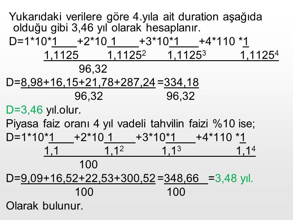 43 Yukarıdaki verilere göre 4.yıla ait duration aşağıda olduğu gibi 3,46 yıl olarak hesaplanır. D=1*10*1 +2*10 1 +3*10*1 +4*110 *1 1,1125 1,1125 2 1,1