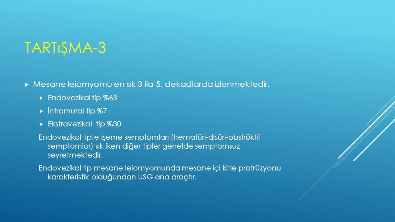 TARTıŞMA-3  Mesane leiomyomu en sık 3 ila 5. dekadlarda izlenmektedir.  Endovezikal tip %63  İntramural tip %7  Ekstravezikal tip %30 Endovezikal