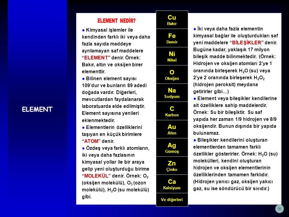 """● ELEMENT ● Kimyasal işlemler ile kendinden farklı iki veya daha fazla sayıda maddeye ayrılamayan saf maddelere """"ELEMENT"""" denir. Örnek: Bakır, altın v"""