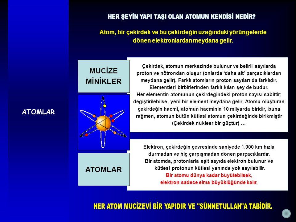 ATOMLAR Atom, bir çekirdek ve bu çekirdeğin uzağındaki yörüngelerde dönen elektronlardan meydana gelir. Çekirdek, atomun merkezinde bulunur ve belirli