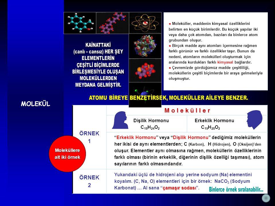 MOLEKÜL ● ● Moleküller, maddenin kimyasal özelliklerini belirten en küçük birimlerdir. Bu küçük yapılar iki veya daha çok atomdan, bazıları da binlerc
