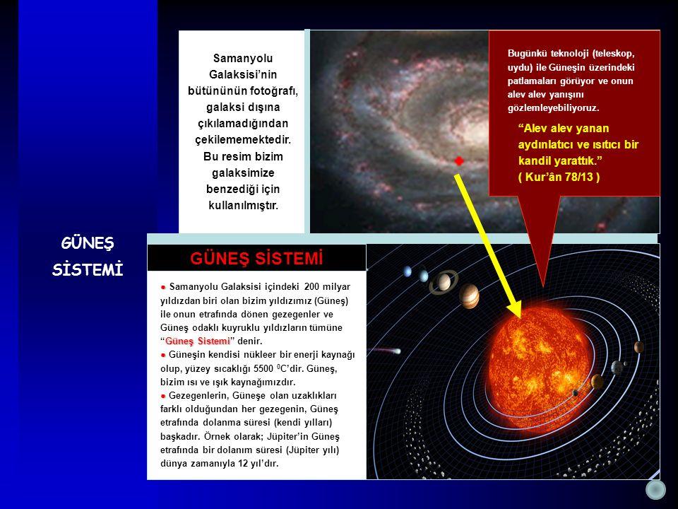 GÜNEŞ SİSTEMİ Samanyolu Galaksisi'nin bütününün fotoğrafı, galaksi dışına çıkılamadığından çekilememektedir. Bu resim bizim galaksimize benzediği için