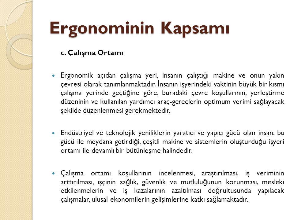 Ergonominin Kapsamı c. Çalışma Ortamı Ergonomik açıdan çalışma yeri, insanın çalıştı ğ ı makine ve onun yakın çevresi olarak tanımlanmaktadır. İ nsanı