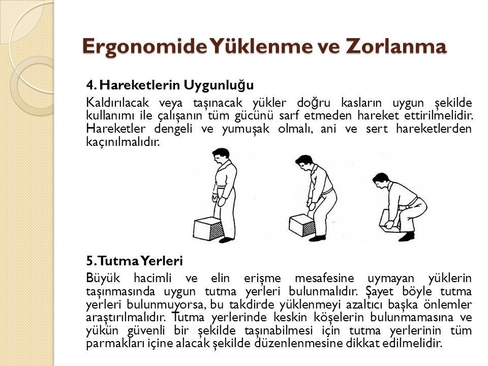 4. Hareketlerin Uygunlu ğ u Kaldırılacak veya taşınacak yükler do ğ ru kasların uygun şekilde kullanımı ile çalışanın tüm gücünü sarf etmeden hareket
