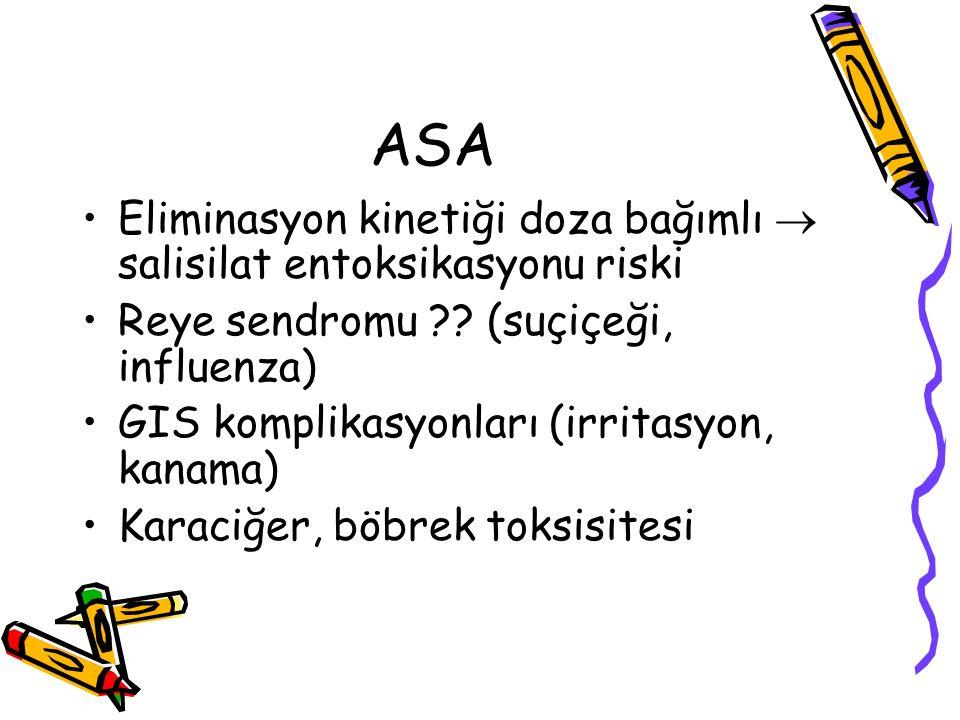 ASA Eliminasyon kinetiği doza bağımlı  salisilat entoksikasyonu riski Reye sendromu ?? (suçiçeği, influenza) GIS komplikasyonları (irritasyon, kanama