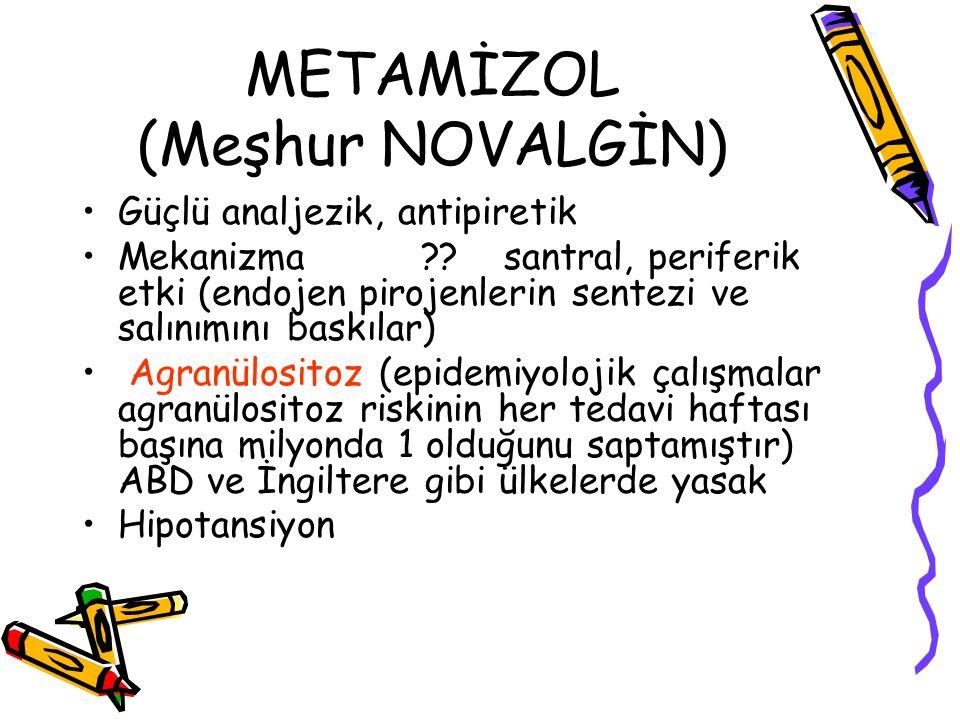 METAMİZOL (Meşhur NOVALGİN) Güçlü analjezik, antipiretik Mekanizma ?? santral, periferik etki (endojen pirojenlerin sentezi ve salınımını baskılar) Ag