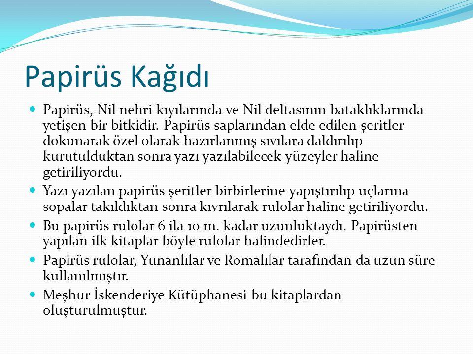 Papirüs Kağıdı Papirüs, Nil nehri kıyılarında ve Nil deltasının bataklıklarında yetişen bir bitkidir. Papirüs saplarından elde edilen şeritler dokunar