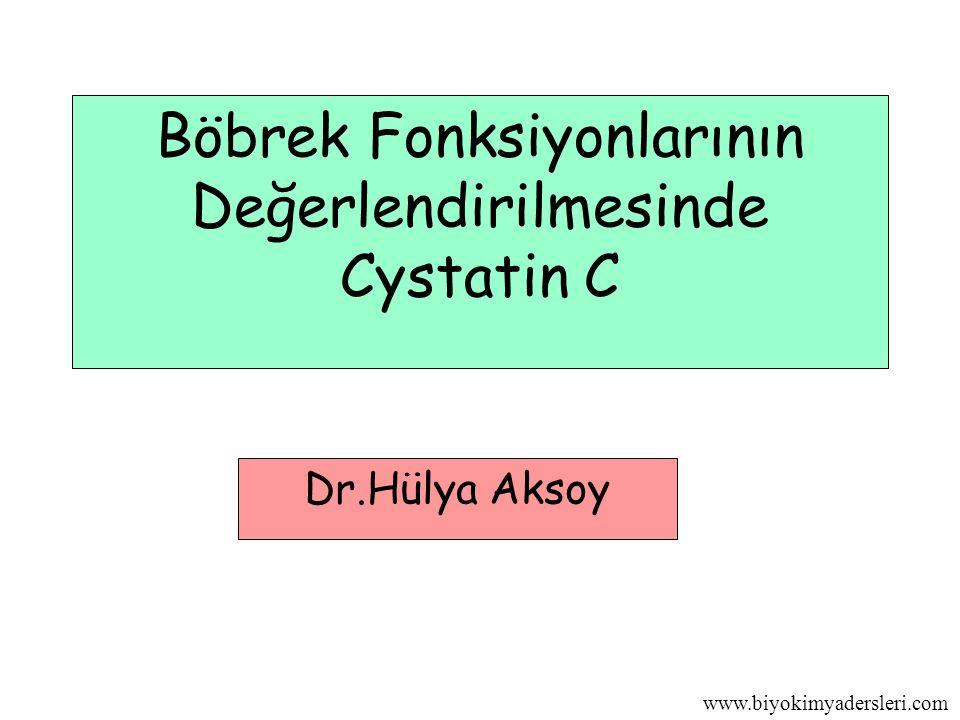 www.biyokimyadersleri.com Böbrek Fonksiyonlarının Değerlendirilmesinde Cystatin C Dr.Hülya Aksoy
