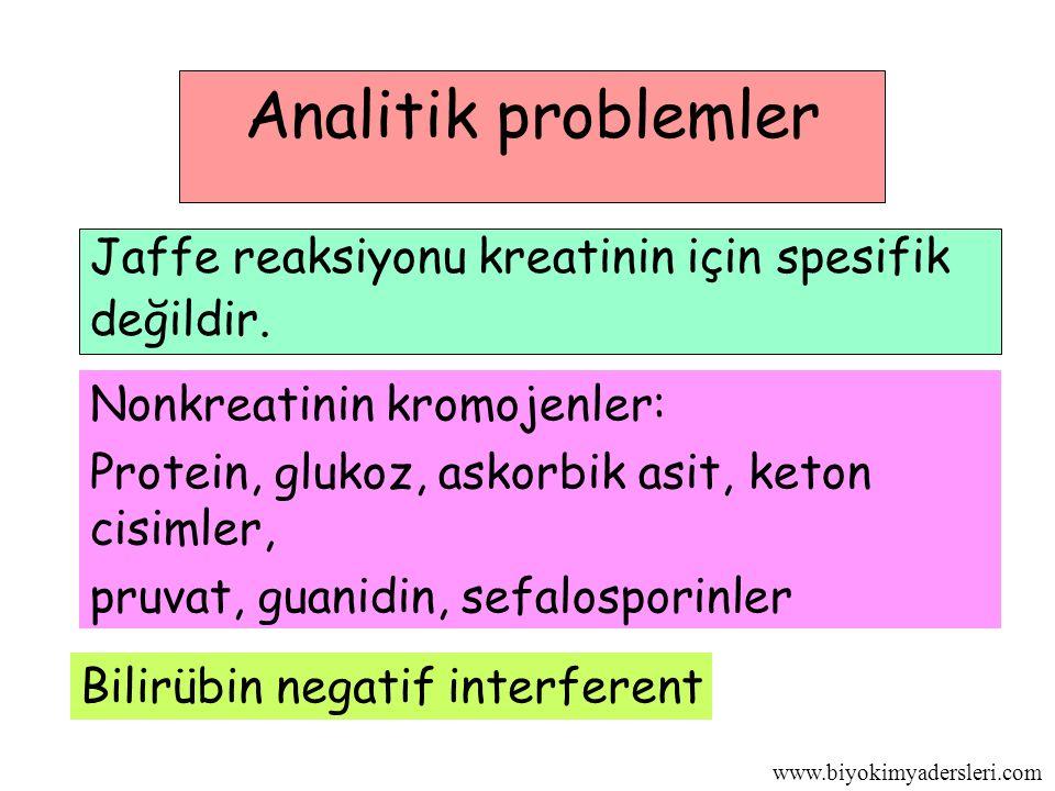 www.biyokimyadersleri.com Analitik problemler Jaffe reaksiyonu kreatinin için spesifik değildir.