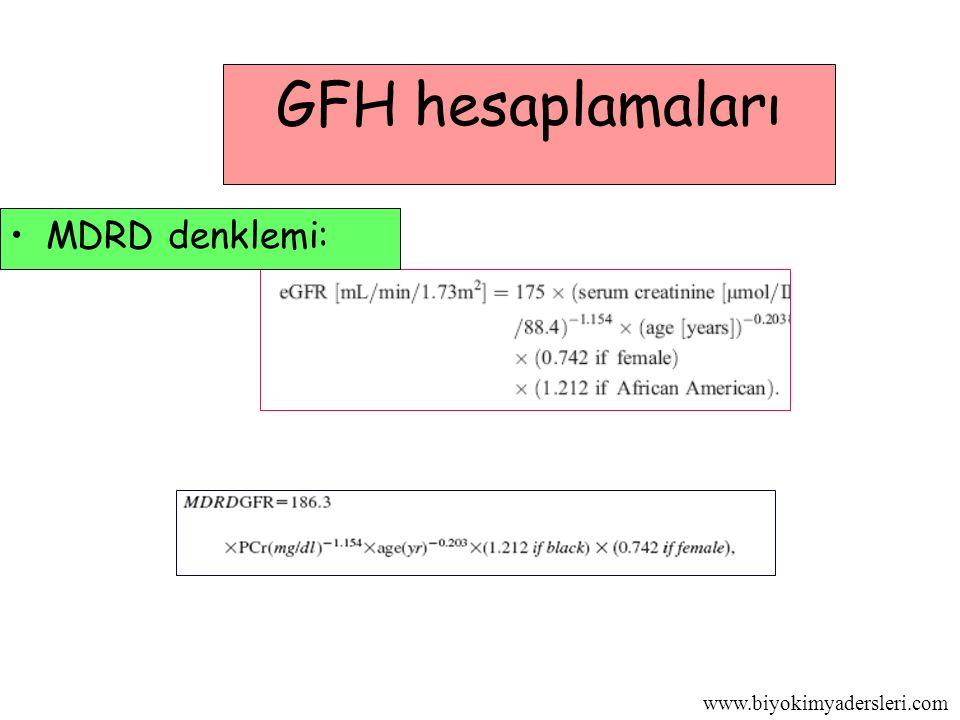 www.biyokimyadersleri.com GFH hesaplamaları MDRD denklemi: