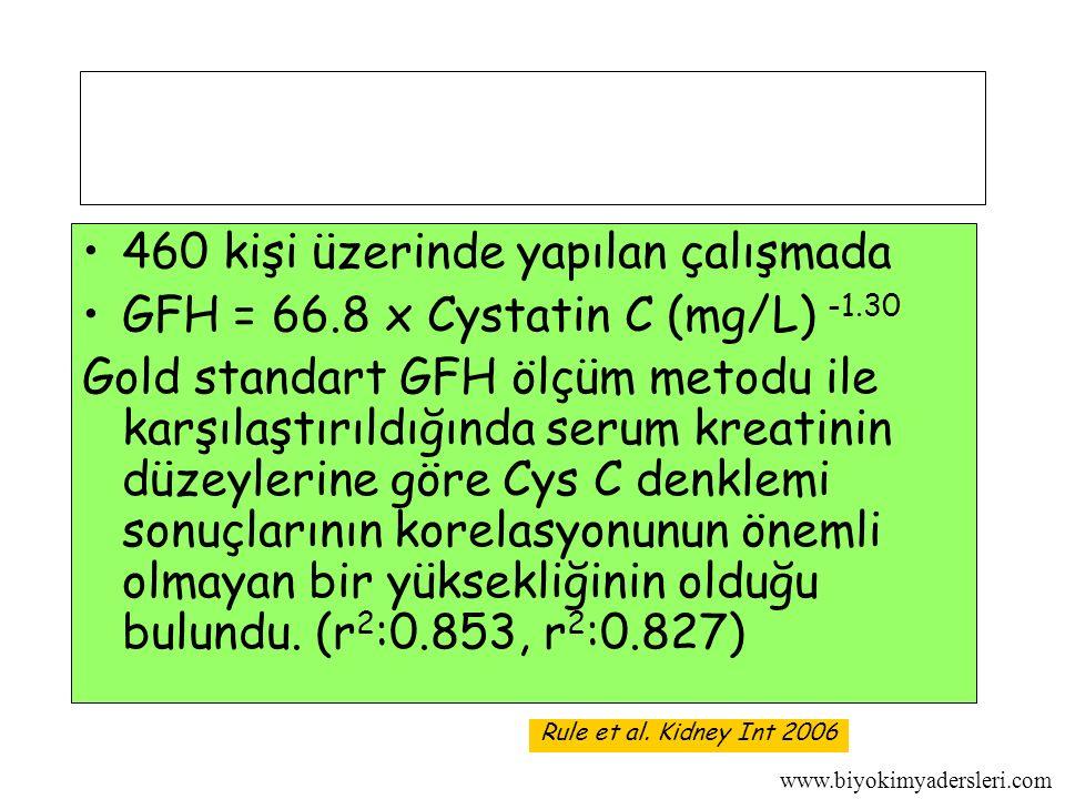 www.biyokimyadersleri.com 460 kişi üzerinde yapılan çalışmada GFH = 66.8 x Cystatin C (mg/L) -1.30 Gold standart GFH ölçüm metodu ile karşılaştırıldığında serum kreatinin düzeylerine göre Cys C denklemi sonuçlarının korelasyonunun önemli olmayan bir yüksekliğinin olduğu bulundu.