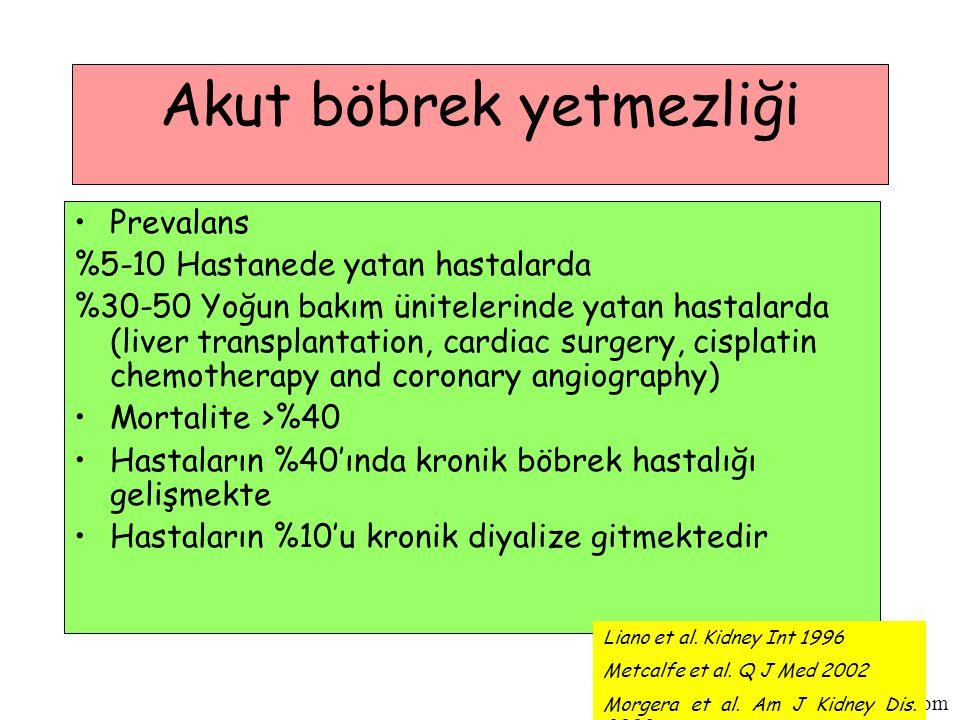 www.biyokimyadersleri.com Akut böbrek yetmezliği Prevalans %5-10 Hastanede yatan hastalarda %30-50 Yoğun bakım ünitelerinde yatan hastalarda (liver transplantation, cardiac surgery, cisplatin chemotherapy and coronary angiography) Mortalite >%40 Hastaların %40'ında kronik böbrek hastalığı gelişmekte Hastaların %10'u kronik diyalize gitmektedir Liano et al.