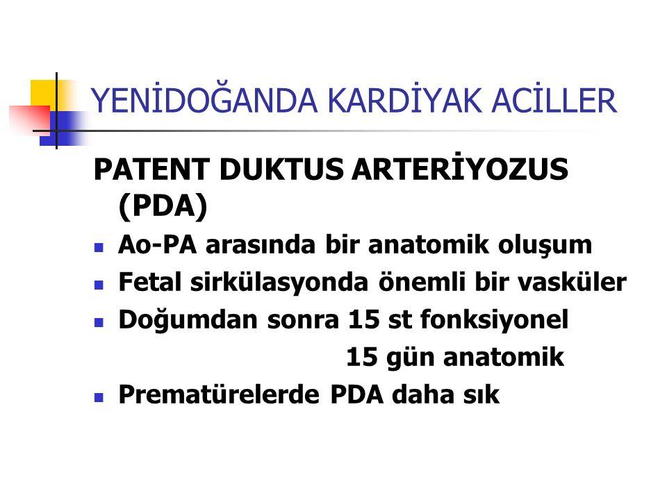 YENİDOĞANDA KARDİYAK ACİLLER PATENT DUKTUS ARTERİYOZUS (PDA) Ao-PA arasında bir anatomik oluşum Fetal sirkülasyonda önemli bir vasküler Doğumdan sonra