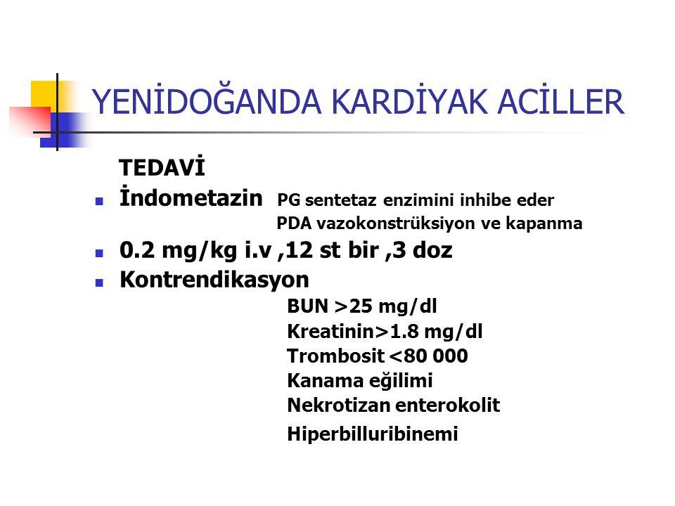 YENİDOĞANDA KARDİYAK ACİLLER TEDAVİ İndometazin PG sentetaz enzimini inhibe eder PDA vazokonstrüksiyon ve kapanma 0.2 mg/kg i.v,12 st bir,3 doz Kontre