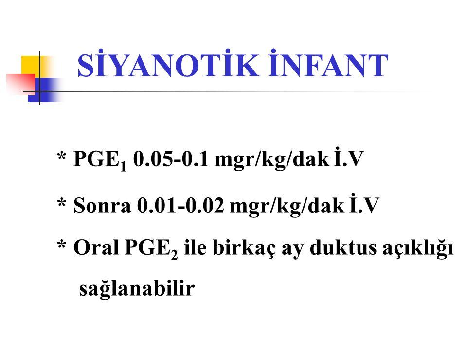 SİYANOTİK İNFANT * PGE 1 0.05-0.1 mgr/kg/dak İ.V * Sonra 0.01-0.02 mgr/kg/dak İ.V * Oral PGE 2 ile birkaç ay duktus açıklığı sağlanabilir