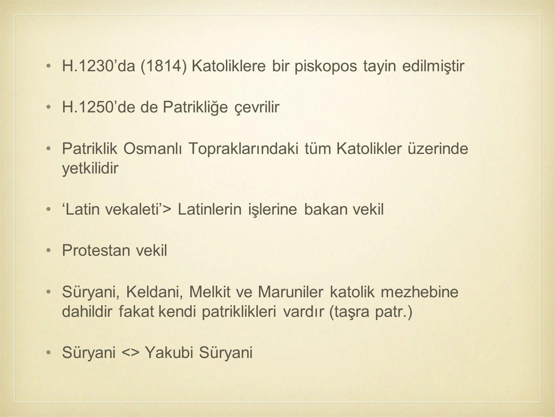 H.1230'da (1814) Katoliklere bir piskopos tayin edilmiştir H.1250'de de Patrikliğe çevrilir Patriklik Osmanlı Topraklarındaki tüm Katolikler üzerinde