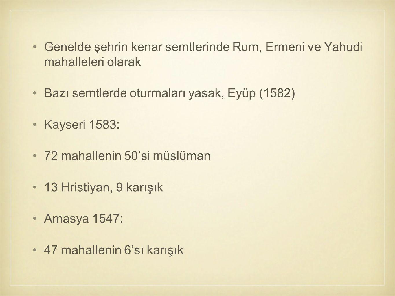 Genelde şehrin kenar semtlerinde Rum, Ermeni ve Yahudi mahalleleri olarak Bazı semtlerde oturmaları yasak, Eyüp (1582) Kayseri 1583: 72 mahallenin 50'