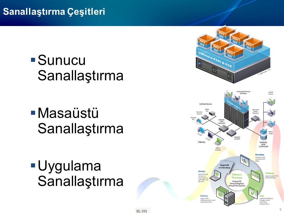 BIL-506 6 Sanallaştırma Sistemleri Bileşenleri  Sunucu Sanallaştırması Bileşenleri  Hypervisor / VMM  Fiziksel Sunucular (Host )  Yönetim Merkezi  Sanal Sunucular (VM)  Sanal Ağlar  Merkezi Disk Sistemleri (SAN)