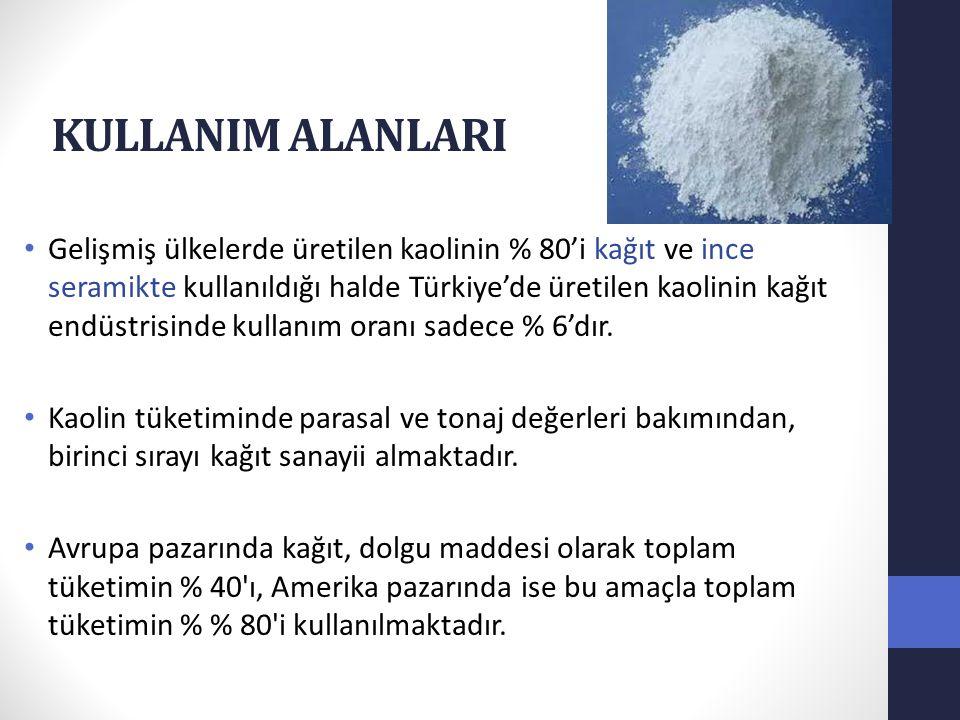 KULLANIM ALANLARI Gelişmiş ülkelerde üretilen kaolinin % 80'i kağıt ve ince seramikte kullanıldığı halde Türkiye'de üretilen kaolinin kağıt endüstrisi