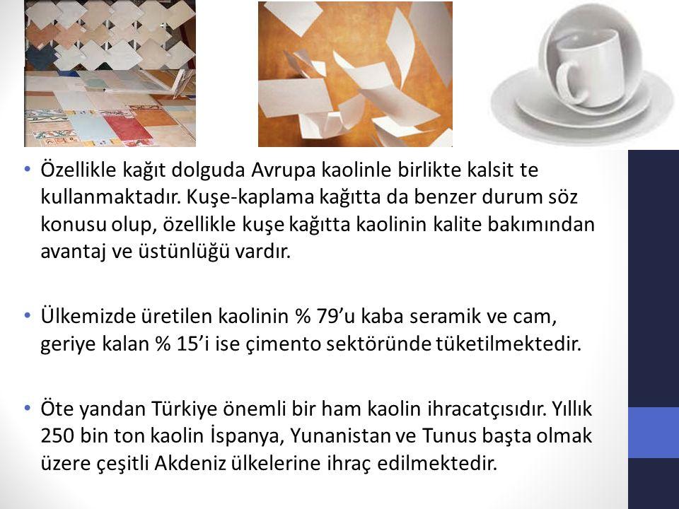 Özellikle kağıt dolguda Avrupa kaolinle birlikte kalsit te kullanmaktadır. Kuşe-kaplama kağıtta da benzer durum söz konusu olup, özellikle kuşe kağıtt