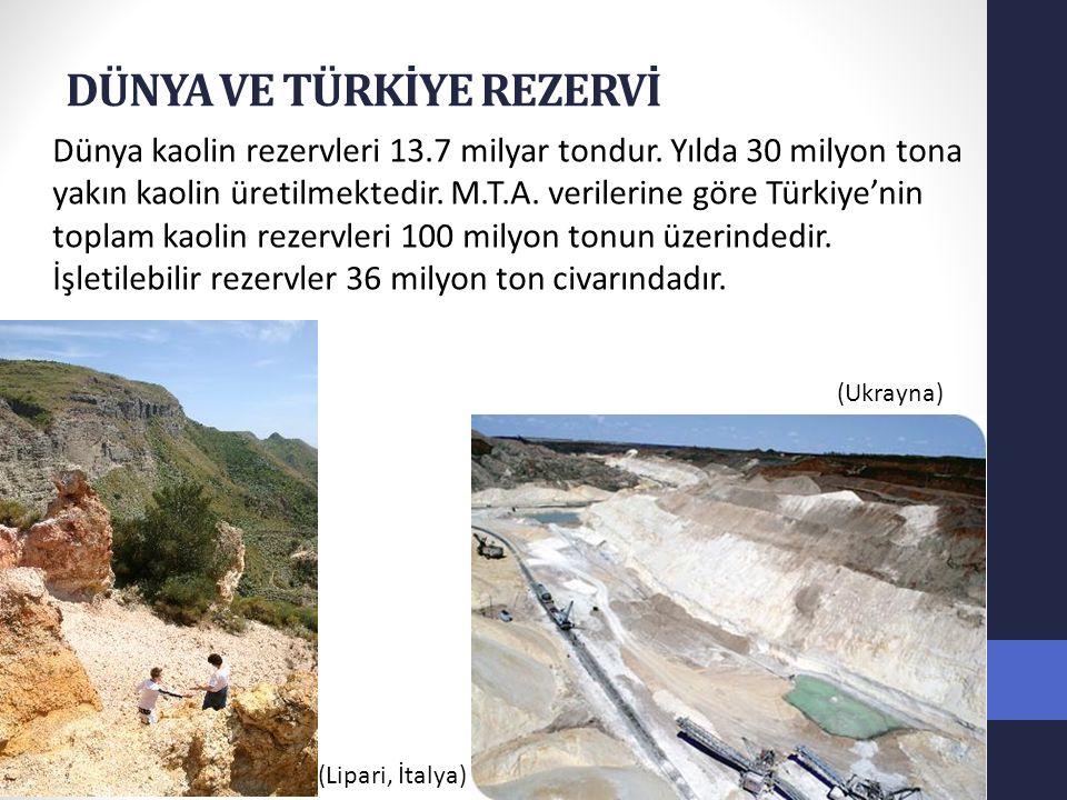 Türkiye'nin en önemli kaolin yatakları Yatak Toplam rezerv İşletilebilir Rezerv Al2O3 % Balıkesir – Sındırgı70.000.00025.000.000 11 – 33 Çanakkale – Çan 5.000.000 2.000.000 17 – 35 Giresun – Bulancak7.785.0002.000.000 12 – 24 Niğde – Aksaray 1.500.000 1.000.000 15 – 32 Eskişehir – Mihalıççık 3.330.0001.000.000 20 – 33 Bursa – Kemalpaşa1.000.000 1.000.000 20 – 24 Sivas – Zara – Koyulhisar .