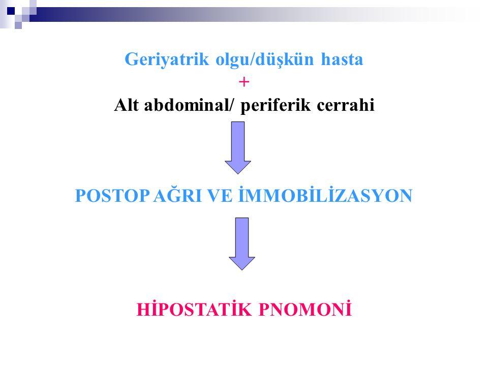 Geriyatrik olgu/düşkün hasta + Alt abdominal/ periferik cerrahi POSTOP AĞRI VE İMMOBİLİZASYON HİPOSTATİK PNOMONİ