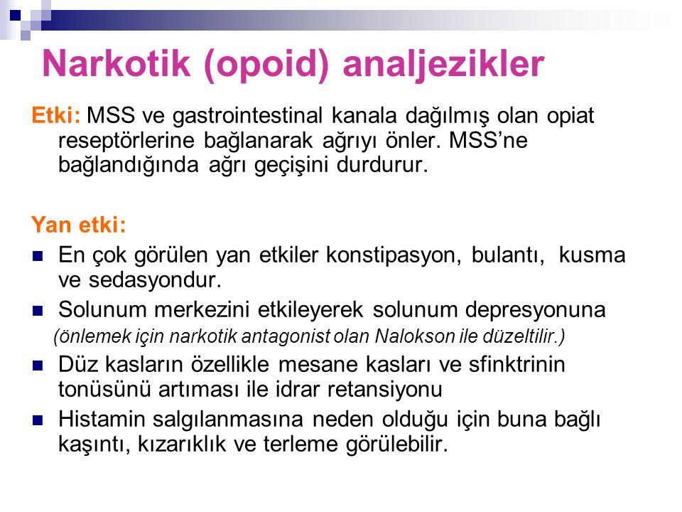 Etki: MSS ve gastrointestinal kanala dağılmış olan opiat reseptörlerine bağlanarak ağrıyı önler. MSS'ne bağlandığında ağrı geçişini durdurur. Yan etki