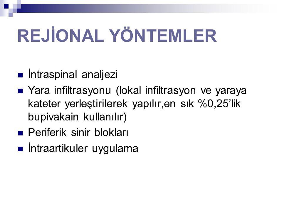 REJİONAL YÖNTEMLER İntraspinal analjezi Yara infiltrasyonu (lokal infiltrasyon ve yaraya kateter yerleştirilerek yapılır,en sık %0,25'lik bupivakain k