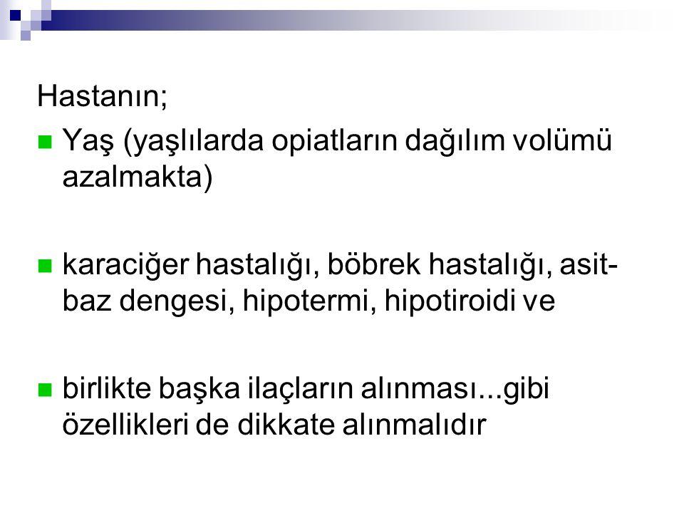 Hastanın; Yaş (yaşlılarda opiatların dağılım volümü azalmakta) karaciğer hastalığı, böbrek hastalığı, asit- baz dengesi, hipotermi, hipotiroidi ve bir