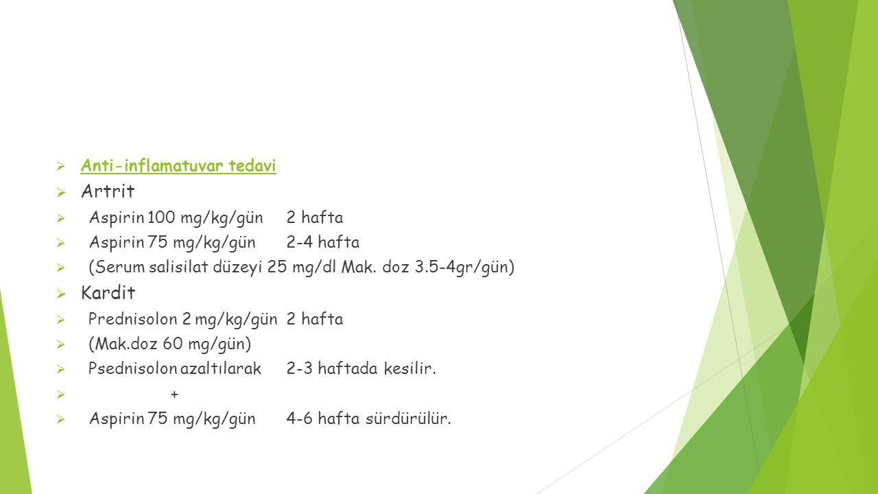  Anti-inflamatuvar tedavi  Artrit  Aspirin 100 mg/kg/gün 2 hafta  Aspirin 75 mg/kg/gün 2-4 hafta  (Serum salisilat düzeyi 25 mg/dl Mak. doz 3.5-4
