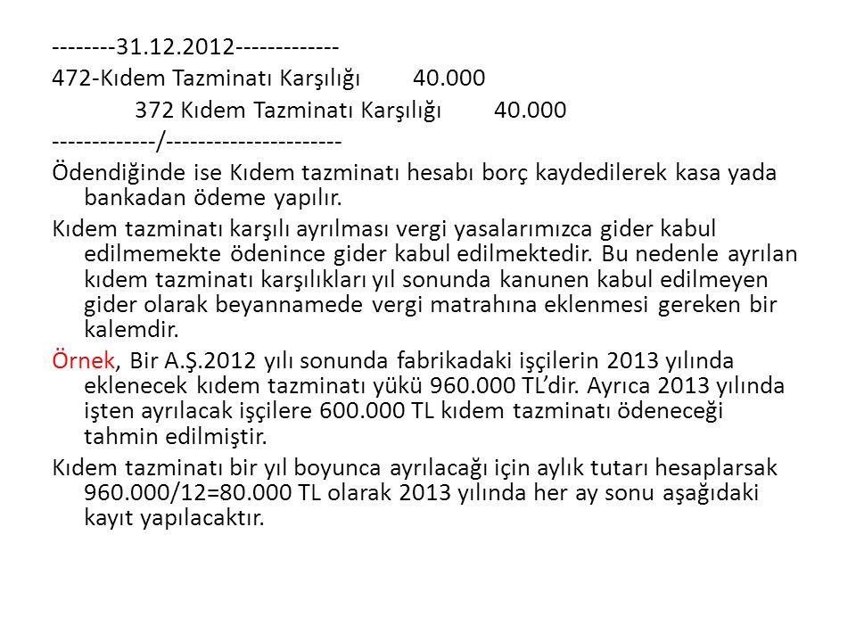 --------31.12.2012------------- 472-Kıdem Tazminatı Karşılığı 40.000 372 Kıdem Tazminatı Karşılığı 40.000 -------------/---------------------- Ödendiğ