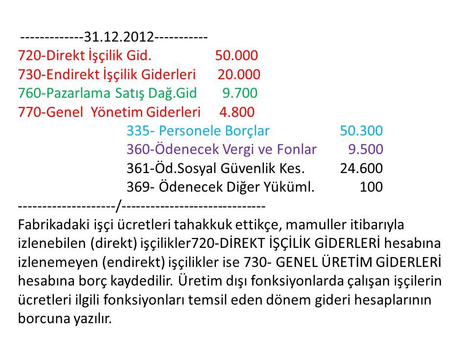 -------------31.12.2012----------- 720-Direkt İşçilik Gid. 50.000 730-Endirekt İşçilik Giderleri 20.000 760-Pazarlama Satış Dağ.Gid 9.700 770-Genel Yö