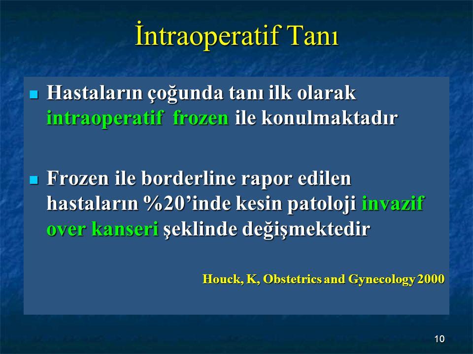 10 İntraoperatif Tanı Hastaların çoğunda tanı ilk olarak intraoperatif frozen ile konulmaktadır Hastaların çoğunda tanı ilk olarak intraoperatif froze