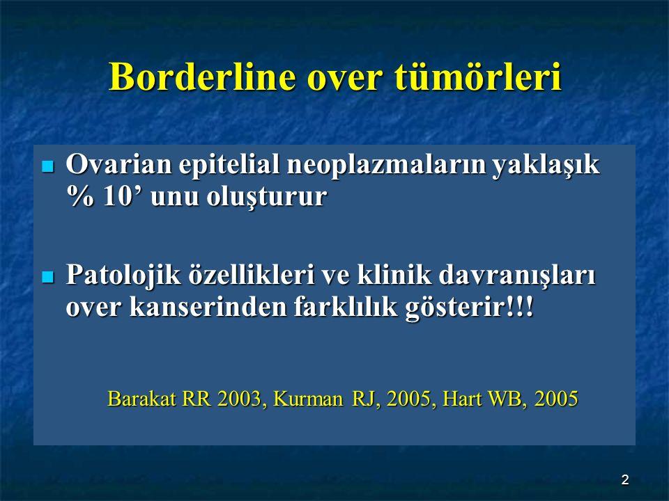 2 Borderline over tümörleri Ovarian epitelial neoplazmaların yaklaşık % 10' unu oluşturur Ovarian epitelial neoplazmaların yaklaşık % 10' unu oluşturu
