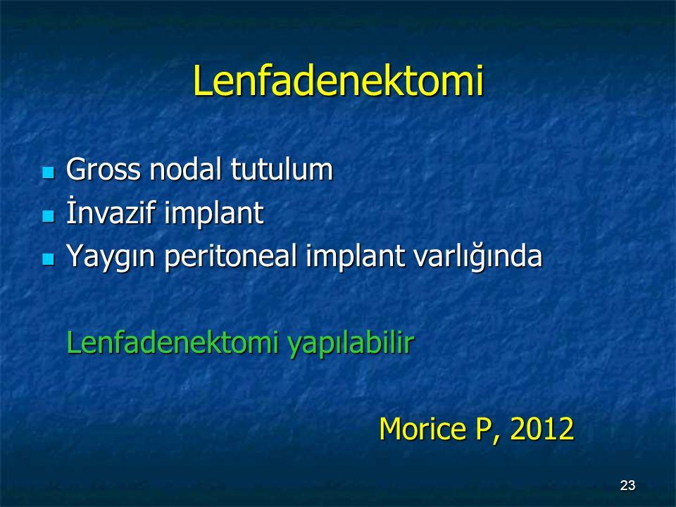 Lenfadenektomi Gross nodal tutulum Gross nodal tutulum İnvazif implant İnvazif implant Yaygın peritoneal implant varlığında Yaygın peritoneal implant