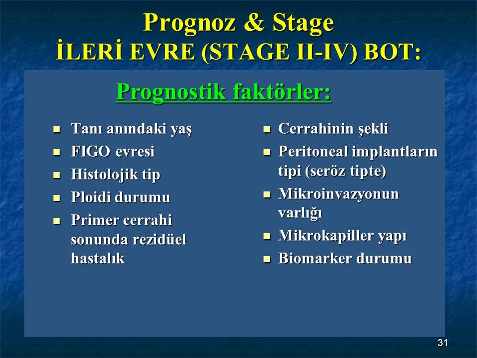 31 Prognoz & Stage İLERİ EVRE (STAGE II-IV) BOT: Tanı anındaki yaş Tanı anındaki yaş FIGO evresi FIGO evresi Histolojik tip Histolojik tip Ploidi duru