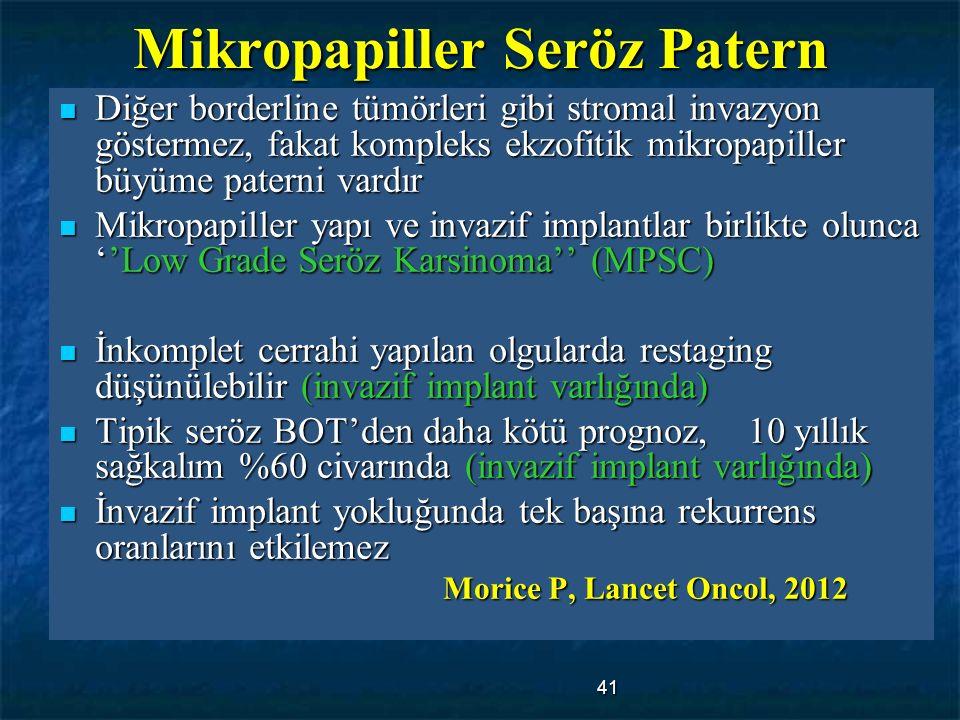41 Mikropapiller Seröz Patern Diğer borderline tümörleri gibi stromal invazyon göstermez, fakat kompleks ekzofitik mikropapiller büyüme paterni vardır