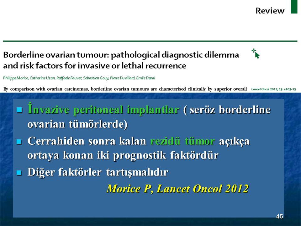 İ nvazive peritoneal implantlar ( seröz borderline ovarian tümörlerde) İ nvazive peritoneal implantlar ( seröz borderline ovarian tümörlerde) Cerrahid