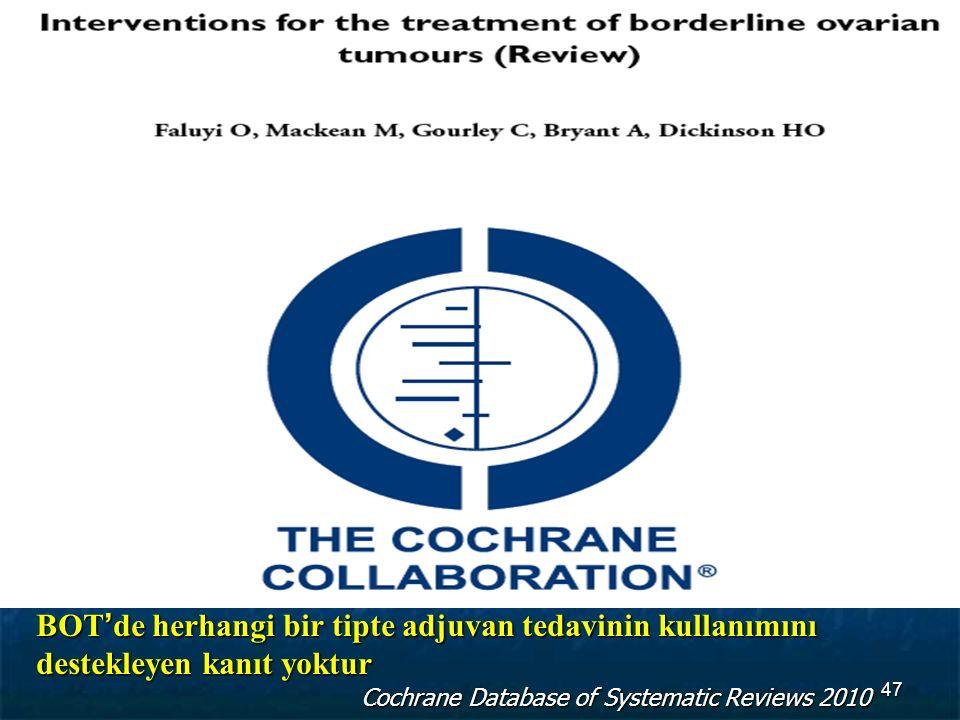 BOT'de herhangi bir tipte adjuvan tedavinin kullanımını destekleyen kanıt yoktur Cochrane Database of Systematic Reviews 2010 47