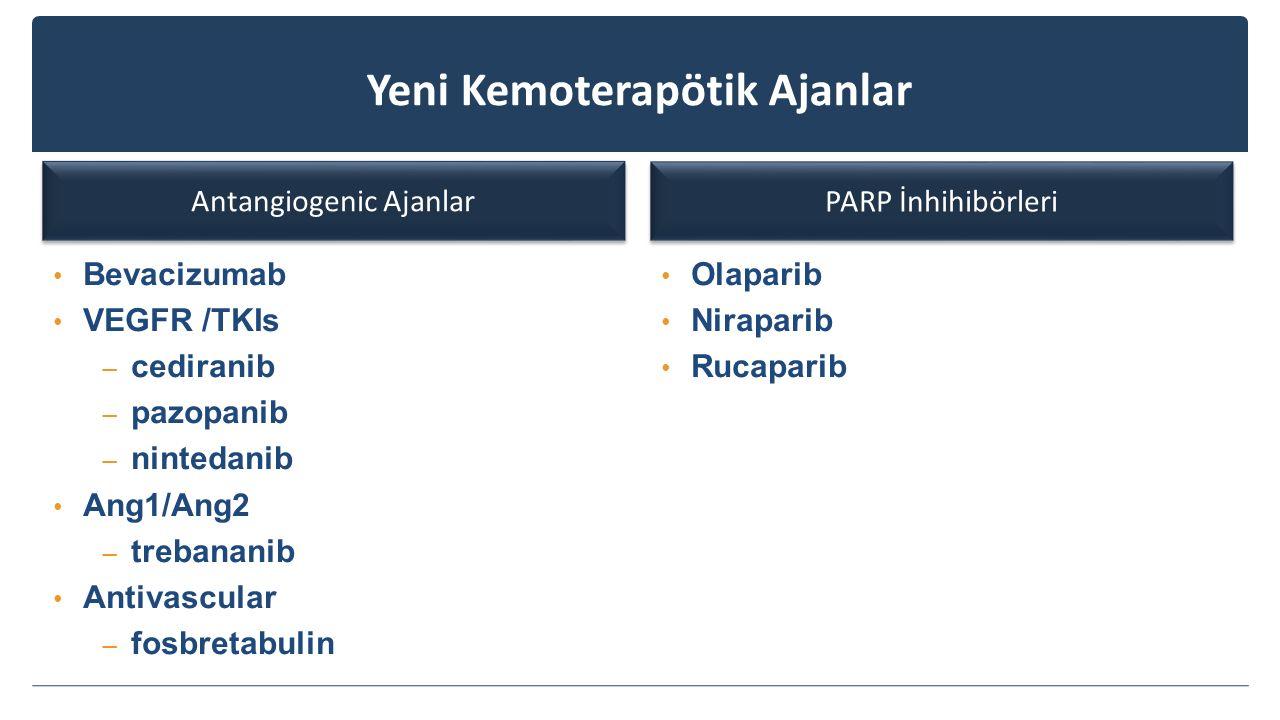 Yeni Kemoterapötik Ajanlar Antangiogenic Ajanlar Bevacizumab VEGFR /TKIs – cediranib – pazopanib – nintedanib Ang1/Ang2 – trebananib Antivascular – fo