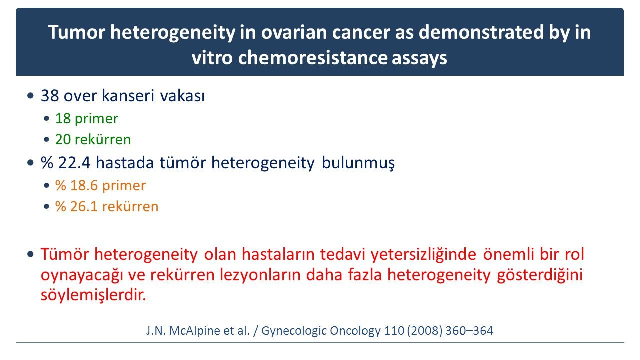 Tumor heterogeneity in ovarian cancer as demonstrated by in vitro chemoresistance assays 38 over kanseri vakası 18 primer 20 rekürren % 22.4 hastada t